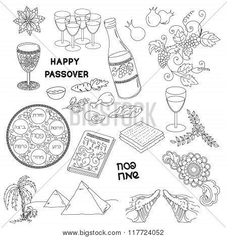 Passover Symbols Doodles Set