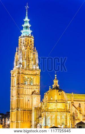 Toledo Spain. Catedral Primada Santa Maria de Toledo built in Mudejar gothic style (1226). Castilla la Mancha.