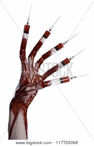 Bloody Hand With Syringe On The Fingers, Toes Syringes, Hand Syringes, Horrible Bloody Hand, Hallowe