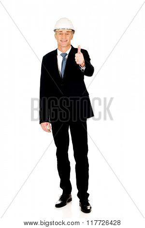 Construction businessman showing ok sign