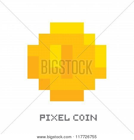 Pixel art style isolated vector coin for retro game