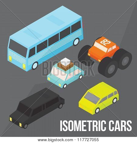 Isometric city transportation vector objects pack