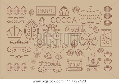 Cocoa Icon, logo, Signs and Badges. Vector Illustration Set