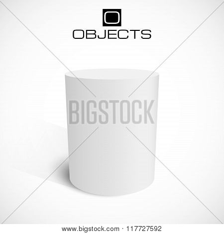 White 3d cylinder stand isolated on background. Platform or podium for your advertisement Vector ill