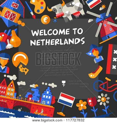 Holland travel icons postcard with famous Dutch symbols