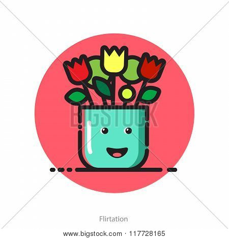 Vector Illustration For Valentines Day Postcard Of Smiling Flower Pot