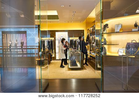 HONG KONG - JANUARY 26, 2016: design of Fendi store at Elements Shopping Mall. Fendi is an Italian luxury fashion house.