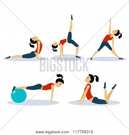 Fitness Women Workouts Set. Vector Illustration Set