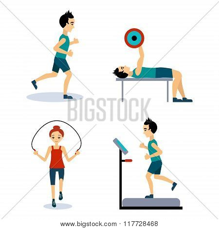 People Workouts Set. Vector Illustration Set