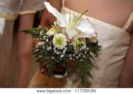 Beautiful Wedding Bouquet In Brides Hand