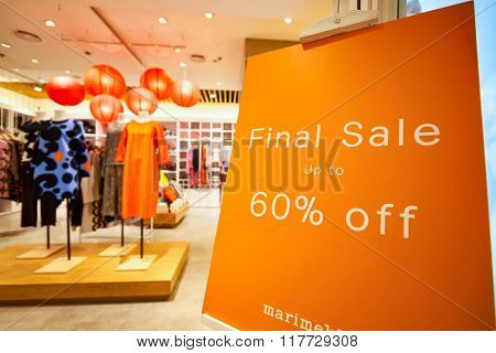 HONG KONG - JANUARY 26, 2016: interior of Marimekko store in Hong Kong. Marimekko is a Finnish company based in Helsinki that has made important contributions to fashion, especially in the 1960s