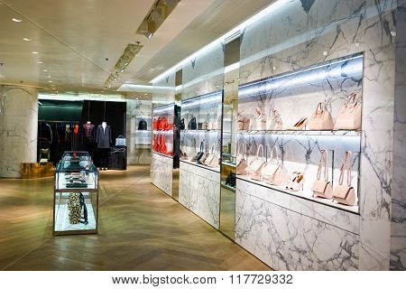 HONG KONG - JANUARY 26, 2016: design of Givenchy store in Hong Kong. Givenchy is a luxury French brand of haute couture clothing, accessories and, as Parfums Givenchy, perfumes and cosmetics.