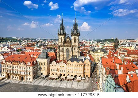 Prague Czech Republic. Aerial view over Church of Our Lady before Tyn at Old Town square (Starometska) in Praha.