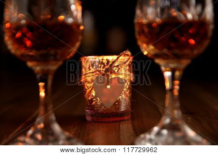 Valentines Day Romantic Candlelight Drinks with Heart