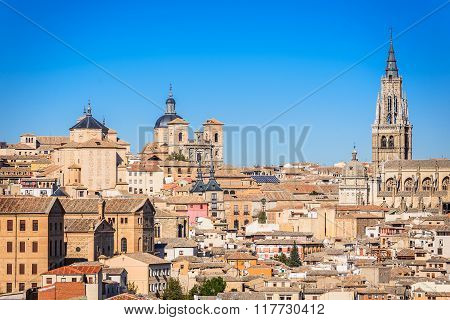 Toledo Spain. Catedral in ancient city on a hill over the Tagus River Castilla la Mancha medieval attraction of Espana.