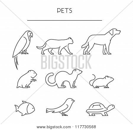 Line Set Of Pets. Linear Silhouettes Animals Isolated On White.