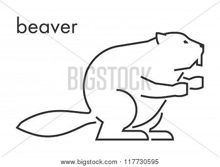 Vector Line Figure Of Beaver On A White Background.