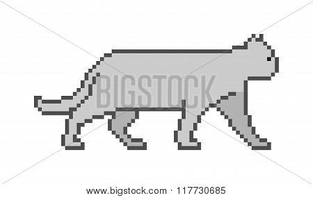 Vector Pixel Art Cat On A White Background.