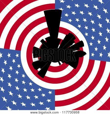 Houston circular skyline with American flag illustration