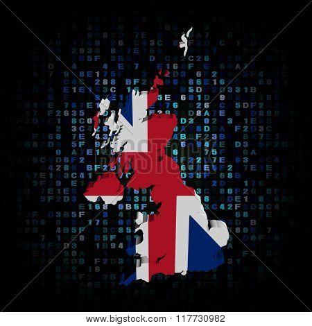 UK map flag on hex code illustration