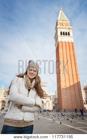 Portrait Of Woman Standing In Front Of Campanile Di San Marco