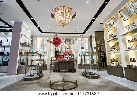 HONG KONG - JANUARY 26, 2016: interior of Jimmy Choo store at Elements Shopping Mall. Jimmy Choo is a British high fashion house specialising in shoes, handbags, accessories and fragrances.