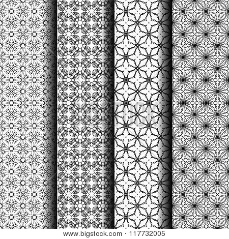 Set of simple vector seamless black and white background