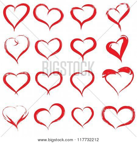 Concept or conceptual painted red heart shape or love symbol set or collection, made by a happy child at school isolated on white background