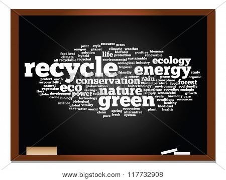 Concept or conceptual abstract green ecology, conservation word cloud text, blackboard and chalk background