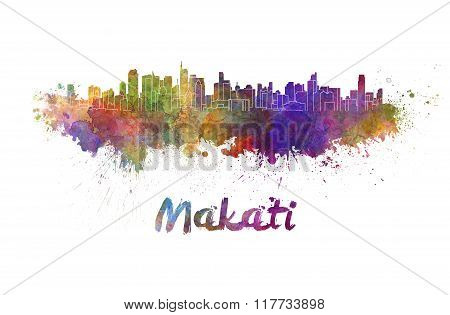 Makati Skyline In Watercolor