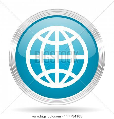 earth blue glossy metallic circle modern web icon on white background