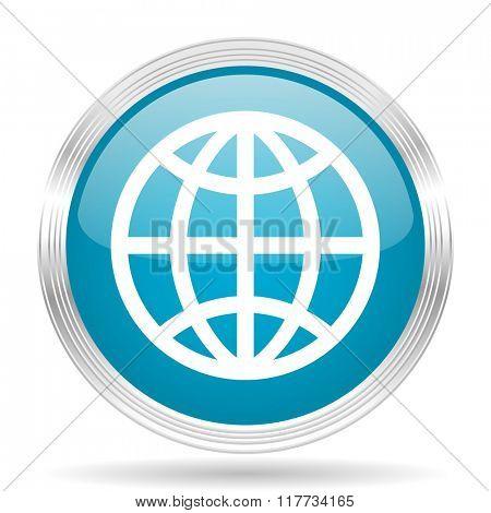 earth blue glossy metallic circle modern web icon on white background
