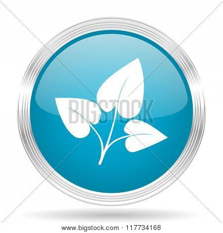 leaf blue glossy metallic circle modern web icon on white background