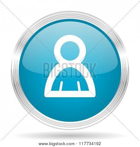 person blue glossy metallic circle modern web icon on white background