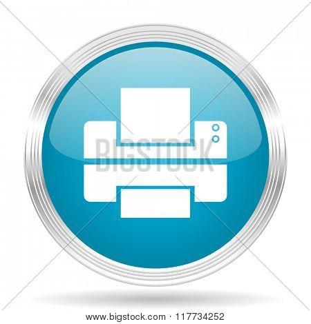 printer blue glossy metallic circle modern web icon on white background