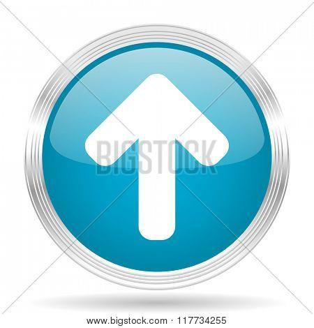 up arrow blue glossy metallic circle modern web icon on white background