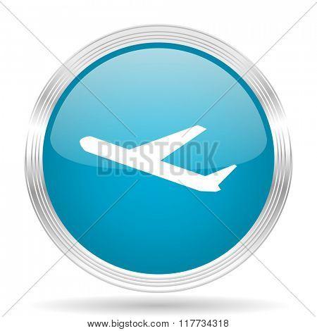deparures blue glossy metallic circle modern web icon on white background