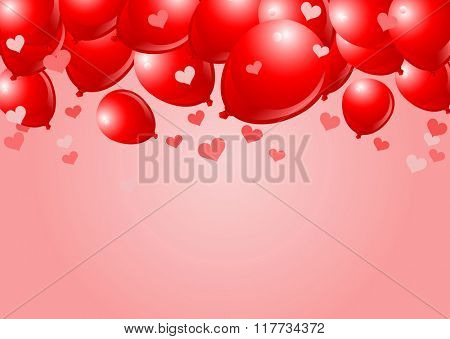 Falling Red Balloons on Pink Background with place for copy/text
