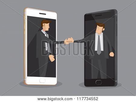 Business Deal Over Modern Technology Vector Illustration