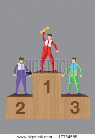 Winning Racers On Podium Vector Illustration