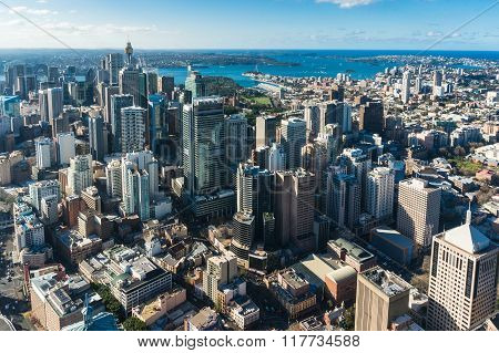 Sydney city aerial view. Sydney CBD Central Business District from above. Sydney downtown top view