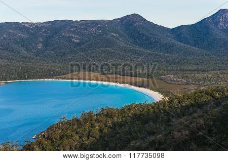 Wineglass Bay From Lookout At Freycinet National Park, Tasmania