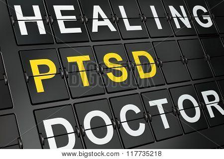 Medicine concept: PTSD on airport board background