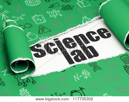 Science concept: black text Science Lab under the piece of  torn paper