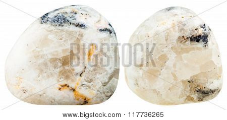 Two Tumbled Baryte (barite) Gemstones Isolated