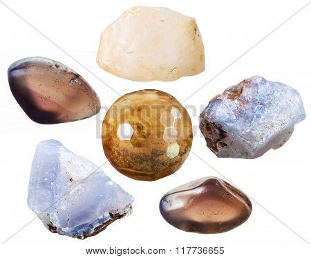 Chalcedony Tumbled Gemstones And Crystals Isolated