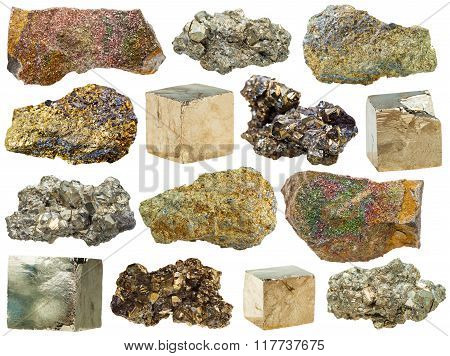 Specimens Of Pyrite Rocks Isolated On White