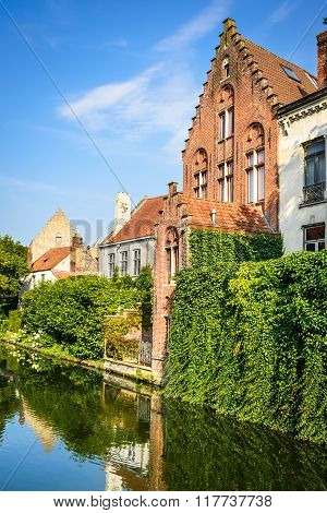 Scenery with water canal in Bruges
