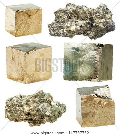 Cristalline Pyrite Gemstones Isolated On White