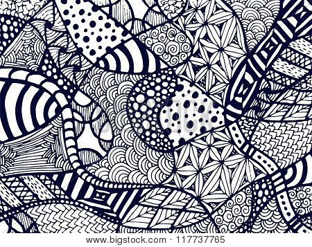Zentangle Background Tangled Ornament On White 1